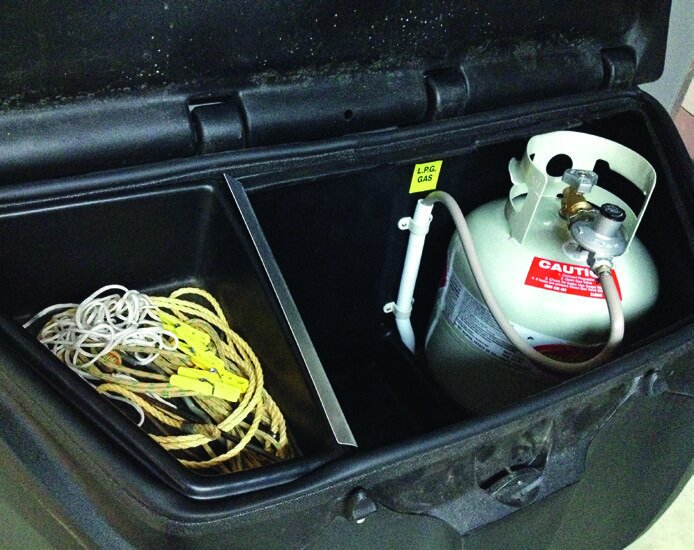 Moulded plastic storage box with gas bottle plumbed in